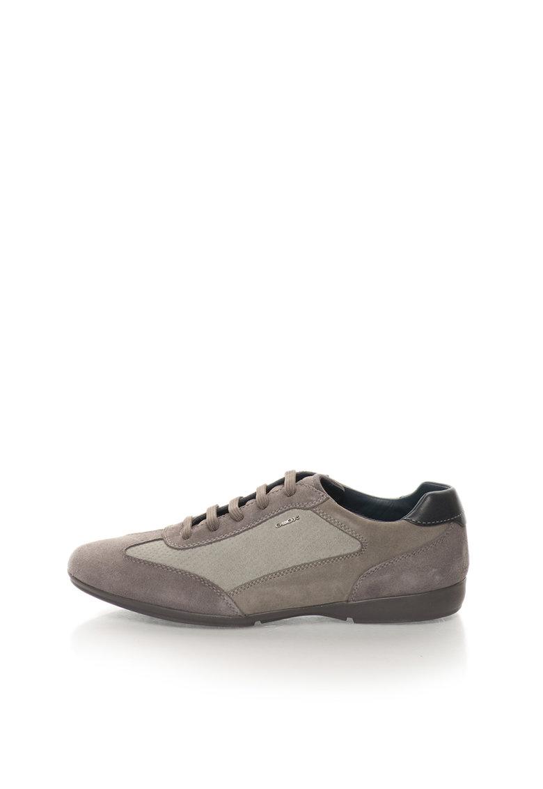 Geox Pantofi sport in nuante de gri de piele intoarsa Efrem