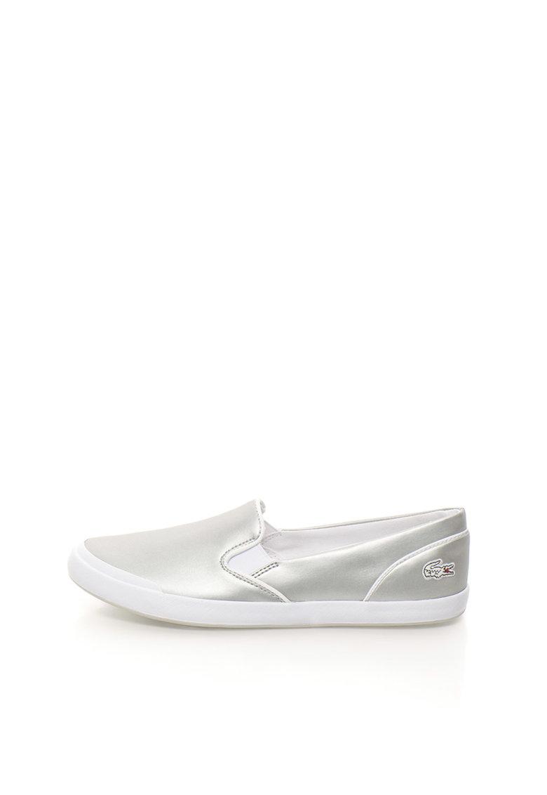 Lacoste Pantofi slip-on argintii de piele Lancelle