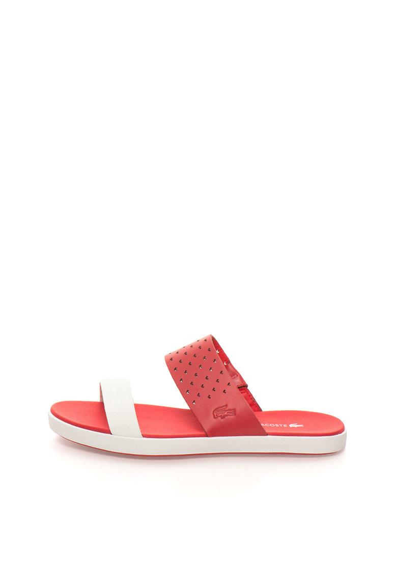 Papuci rosu cu alb de piele