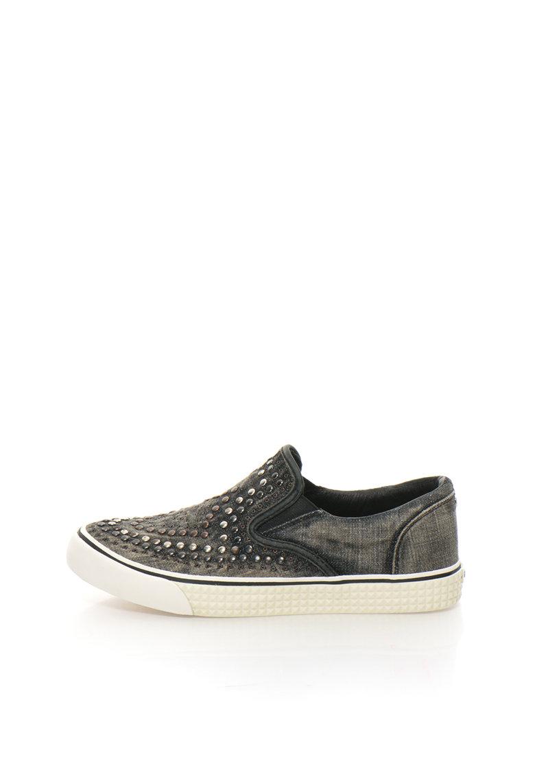 Diesel Pantofi slip-on gri inchis din denim cu nituri Vansis