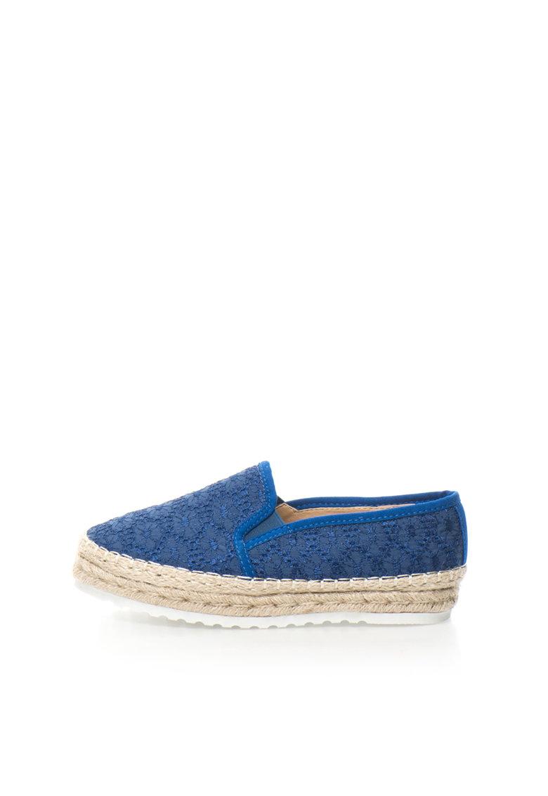 Oakoui Espadrile flatform albastre cu broderii