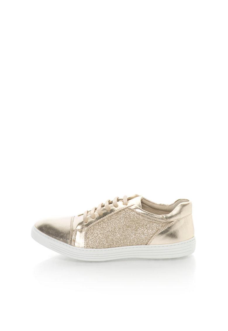 Zee Lane Pantofi sport aurii stralucitori de piele Clara