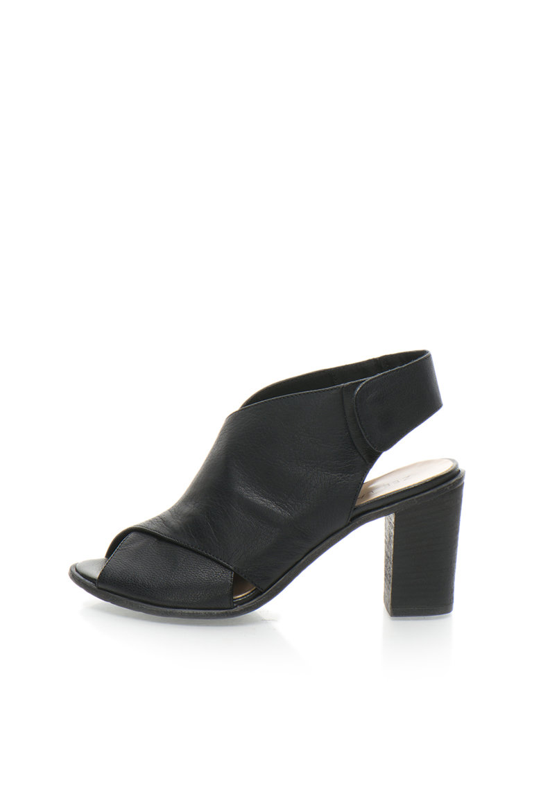 Zee Lane Sandale negre de piele cu toc masiv