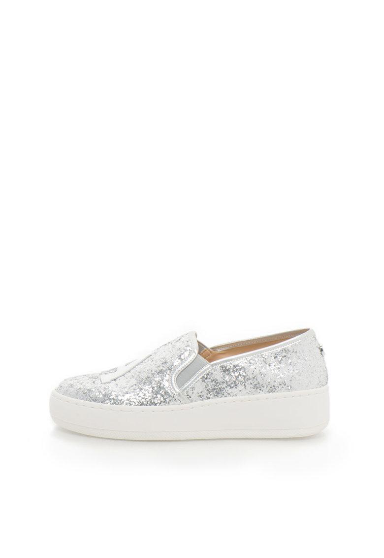 Pantofi slip-on flatform argintii cu particule stralucitoare