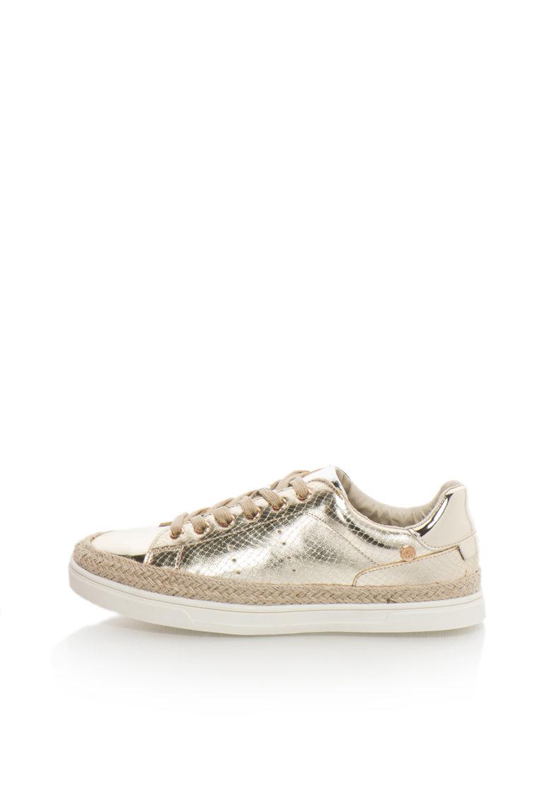 XTI Pantofi sport aurii cu insertii cu model reptila