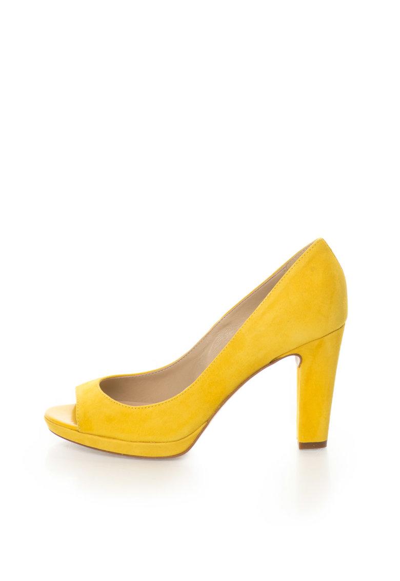 Zee Lane Pantofi galbeni de piele intoarsa cu varf decupat