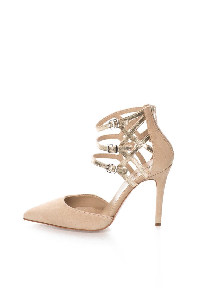 Zee Lane Collection Pantofi bej cu auriu de piele intoarsa si piele cu barete