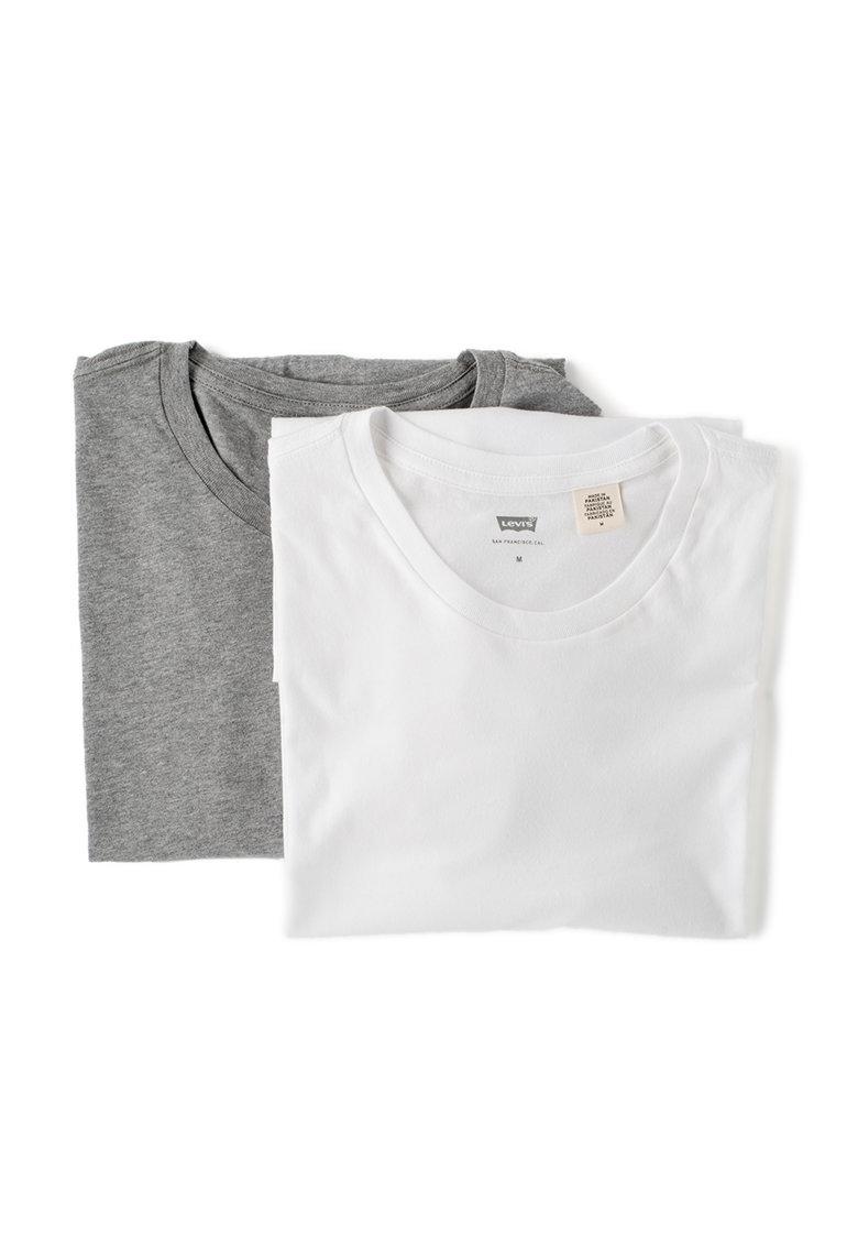 Set de tricouri slim fit alb cu gri - 2 piese