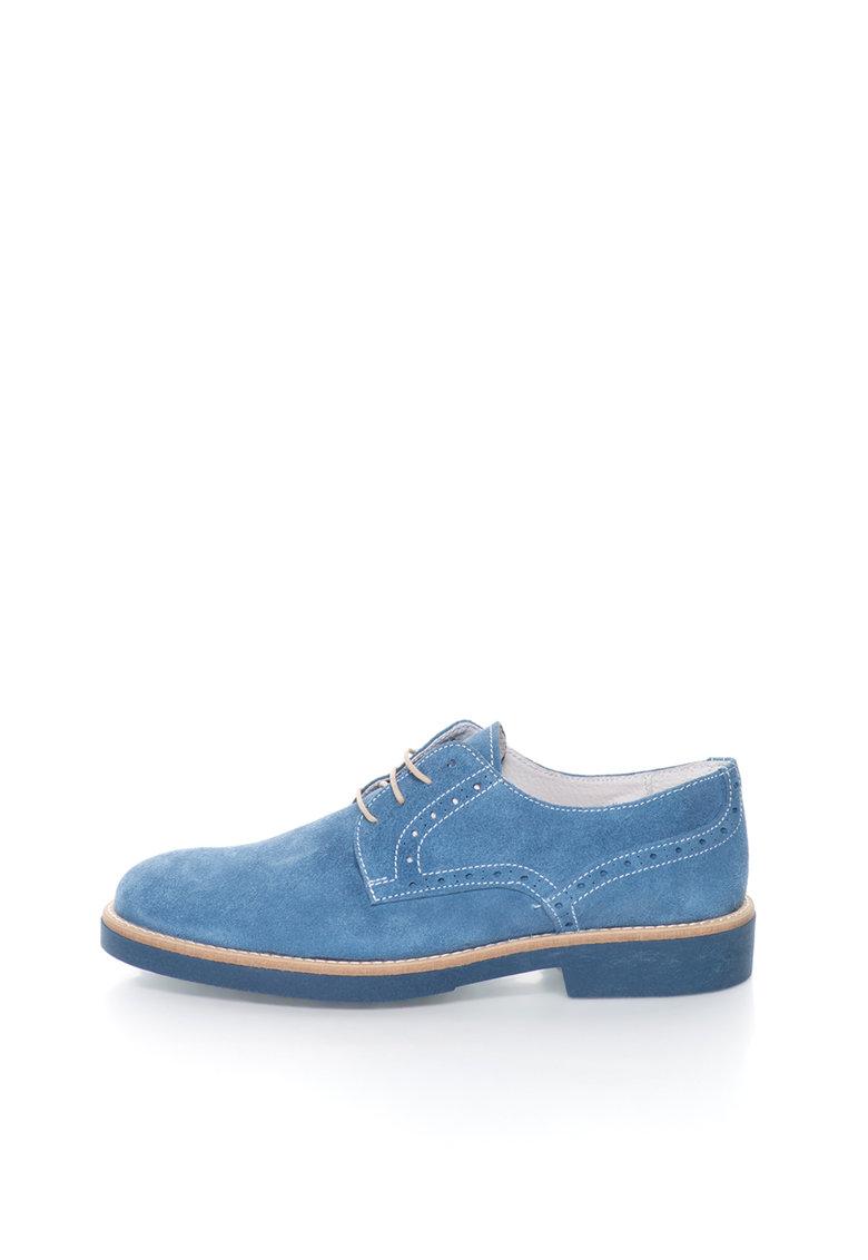 Pantofi derby bleu de piele intoarsa