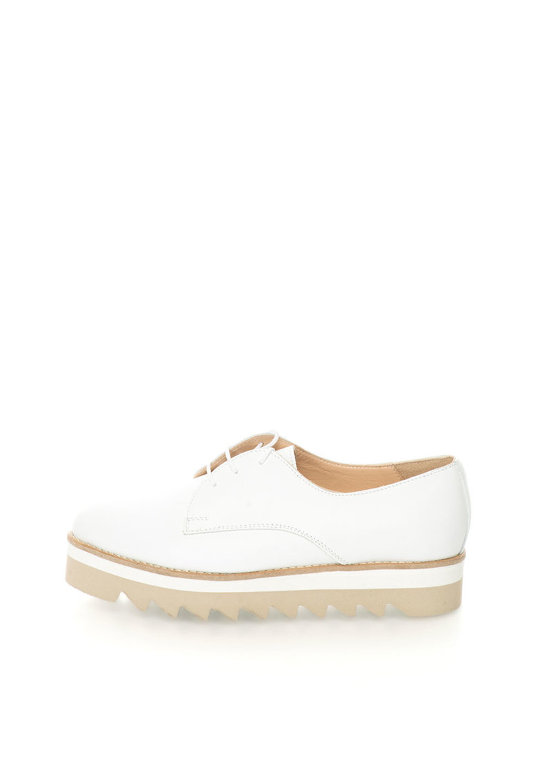 Mihaela Glavan Pantofi flatform albi de piele