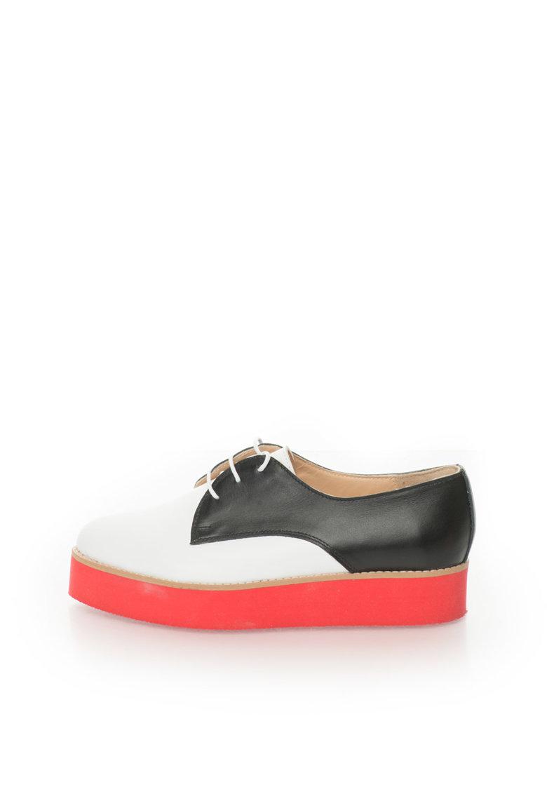 Mihaela Glavan Pantofi flatform alb cu negru de piele