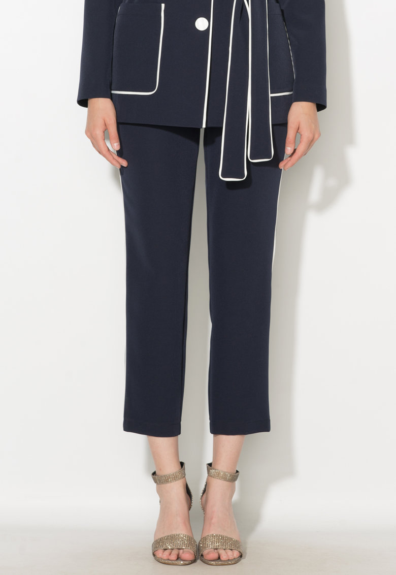 Pantaloni crop bleumarin cu garnituri tubulare Zee Lane Collection