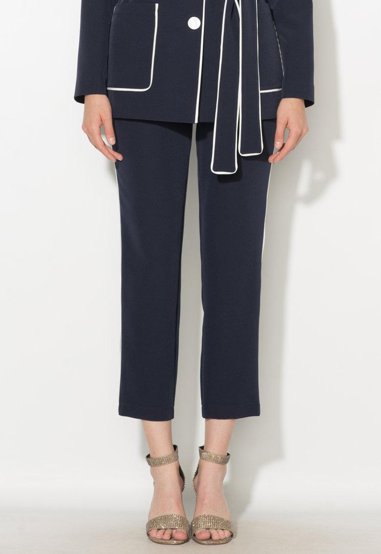Pantaloni crop bleumarin cu vipusca