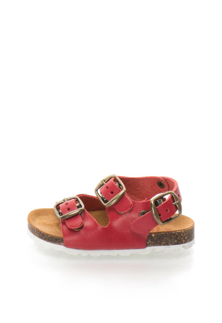 Sandale slingback rosii de piele Alex
