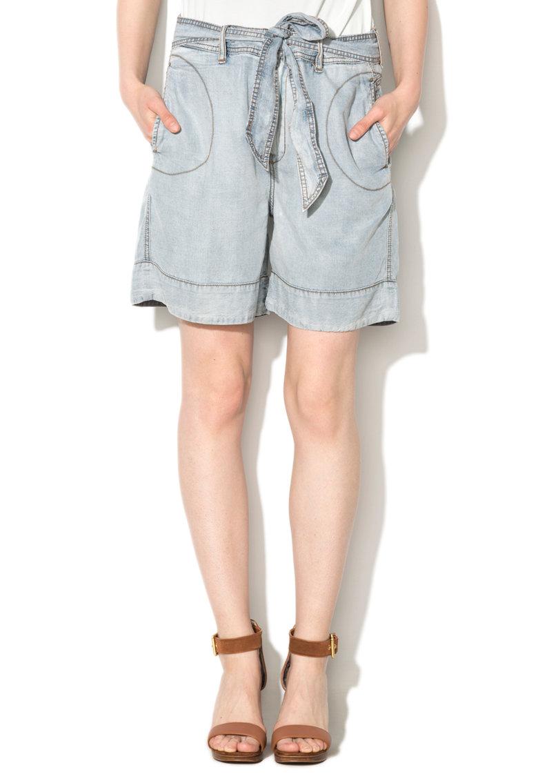 Pantaloni scurti bleu din lyocell Ros de la Diesel