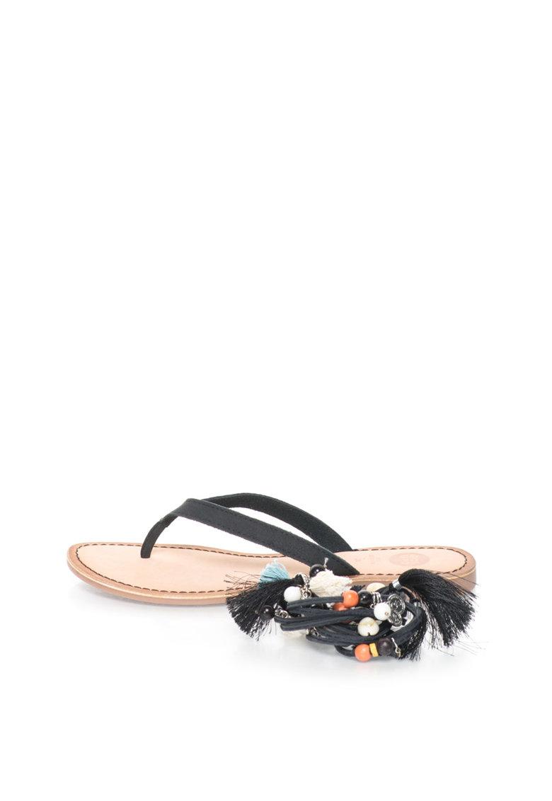 Gioseppo Papuci flip-flop negri de piele cu snururi detasabile Decore