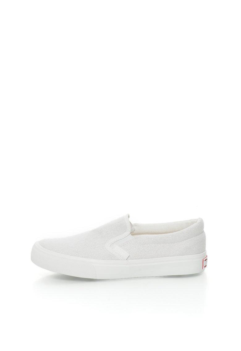 Big Star Pantofi slip-on alb prafuit cu insertii stralucitoare
