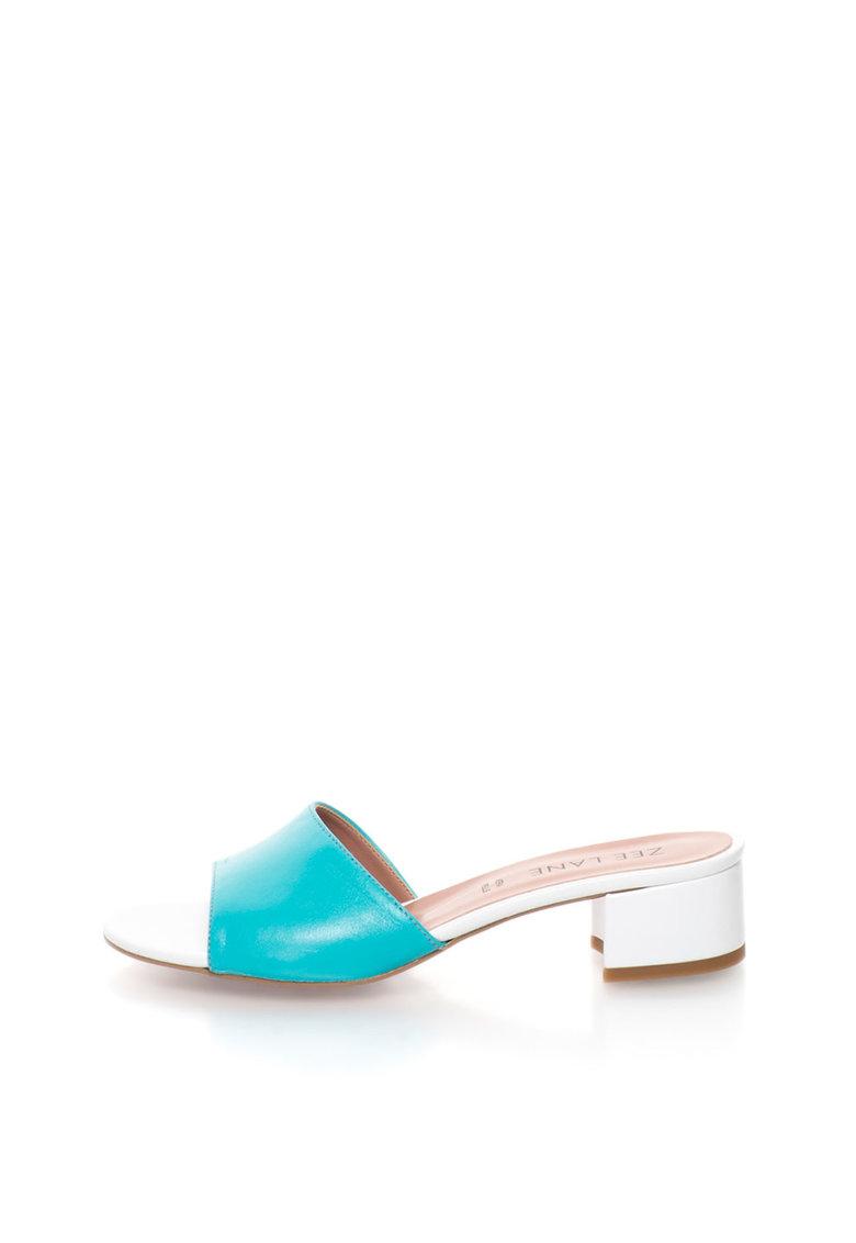 Sandale slip-on turcoaz cu alb de piele Candy de la Zee Lane