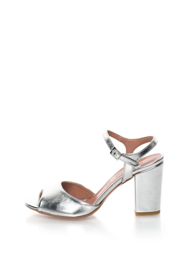 Sandale argintii cu toc masiv Jenny de la Zee Lane
