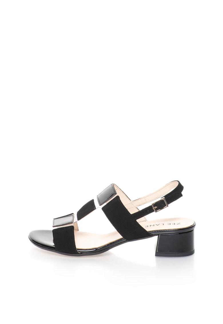 Zee Lane Sandale slingback negru si alb transparent