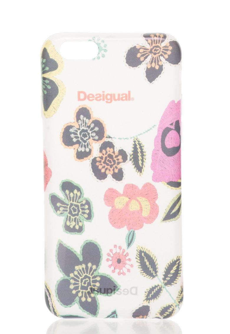 Desigual Carcasa alb transparent cu model floral pentru iPhone 6