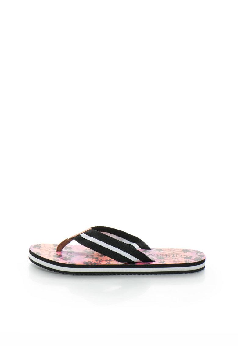 Papuci flip-flop negru si alb cu imprimeu tropical