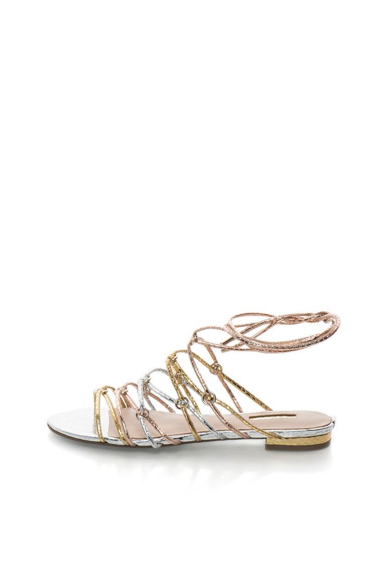 GUESS Sandale infasurabile argintiu cu auriu