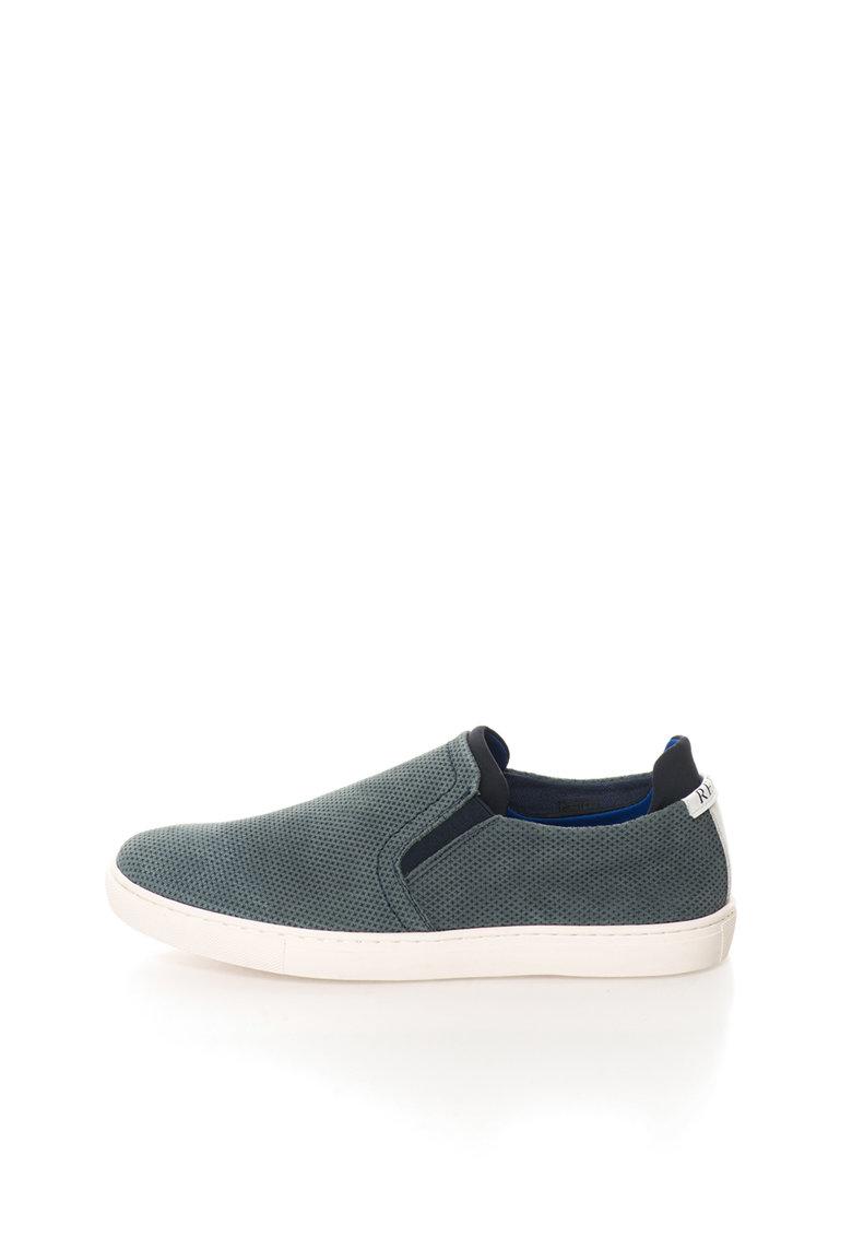 Pantofi slip-on albastru teal de piele nabuc Rolling