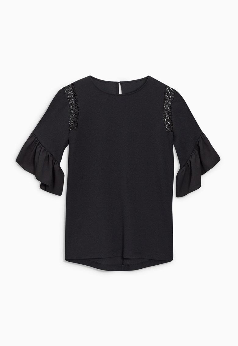 NEXT Bluza neagra cu maneci evazate