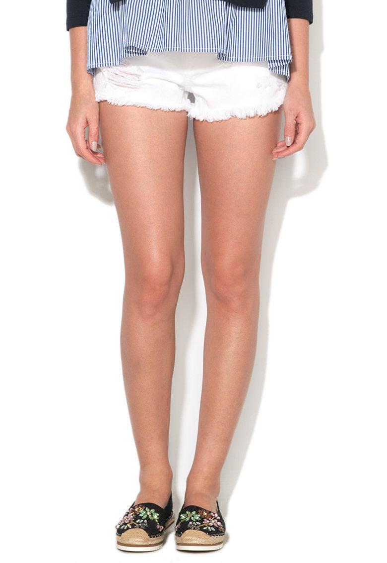 Fornarina Pantaloni scurti albi cu aspect deteriorat Shake