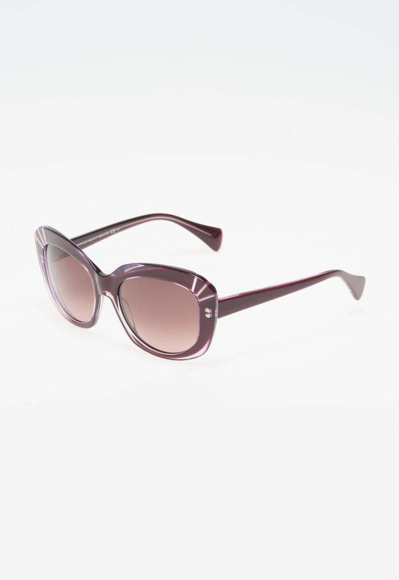 Ochelari de soare violet cu insertii transparente de la Alexander Mcqueen