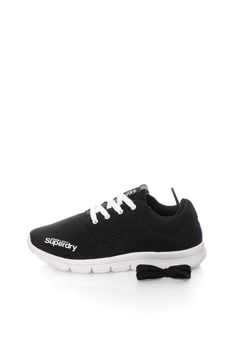 Superdry Pantofi sport negru si alb cu detalii in relief Scuba