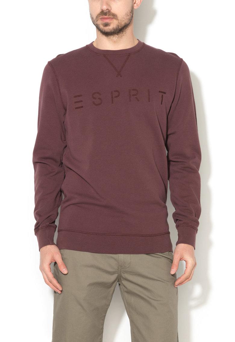 Bluza sport regular fit violet pruna inchis cu broderie logo