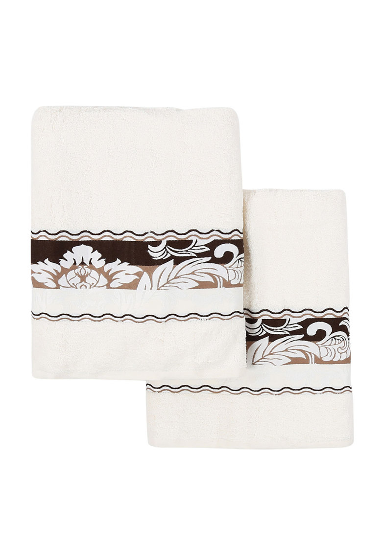 Leunelle Set de prosoape alb unt cu maro Yaprak – 2 piese