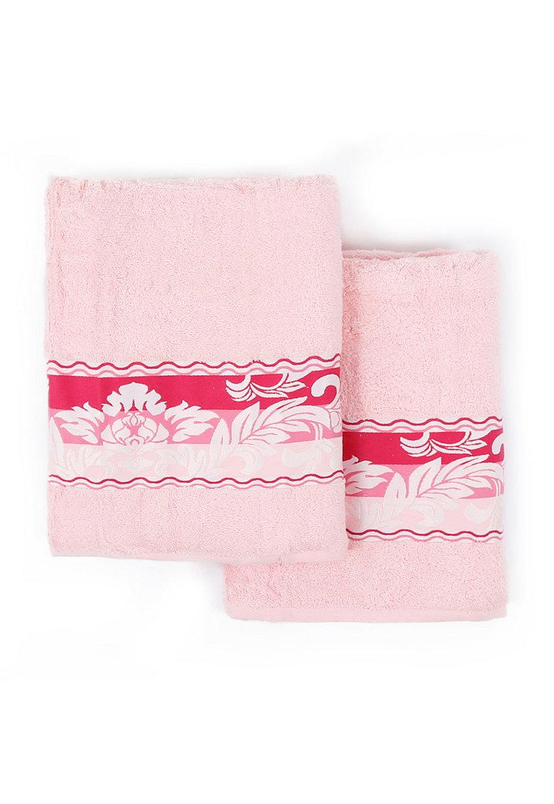 Set de prosoape roz cu fucsia si design floral Yaprak - 2 piese