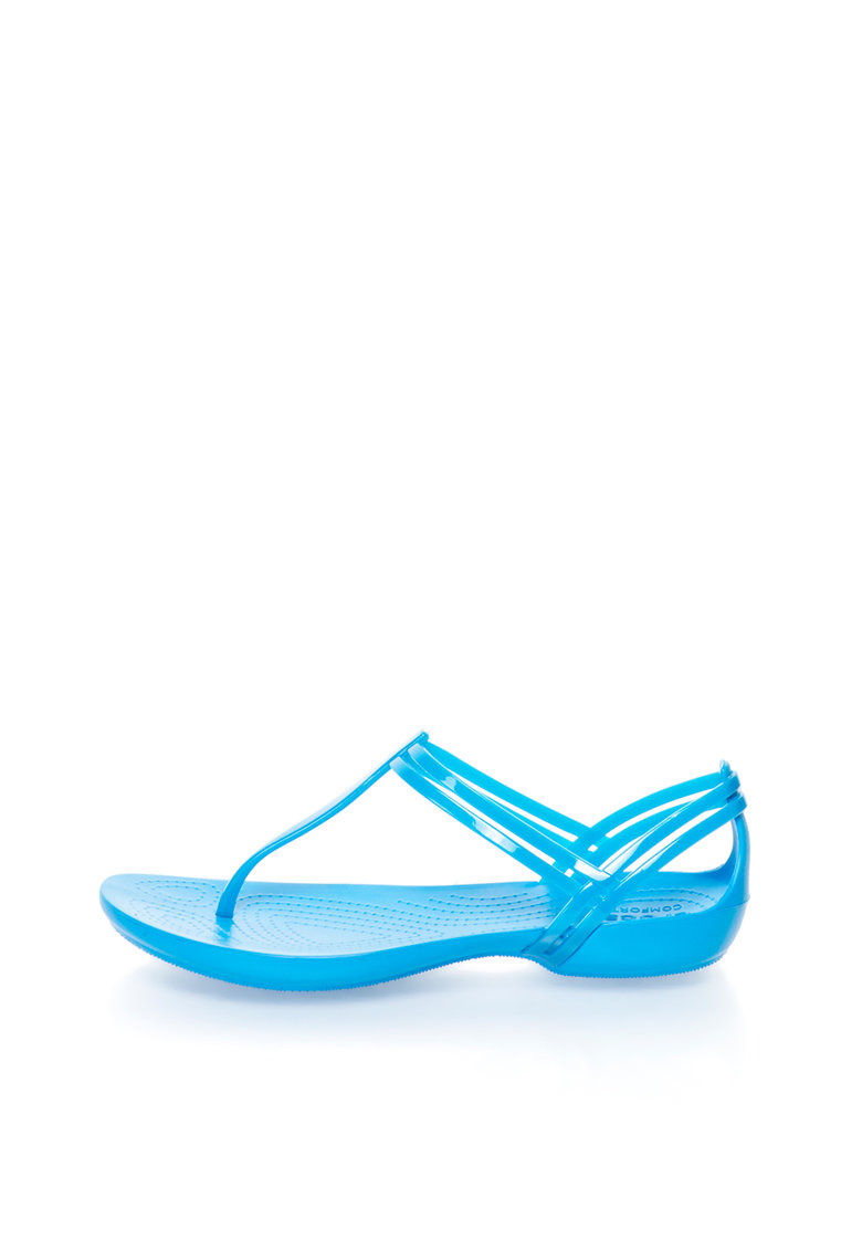 Crocs Sandale albastru electric cauciucate cu bareta separatoare