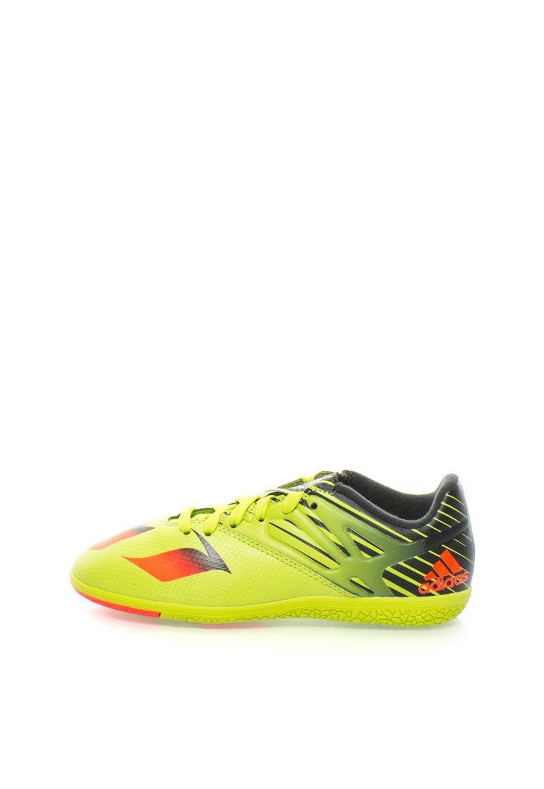 Pantofi verde chartreuse cu negru pentru fotbal Messi 15.3 de la adidas