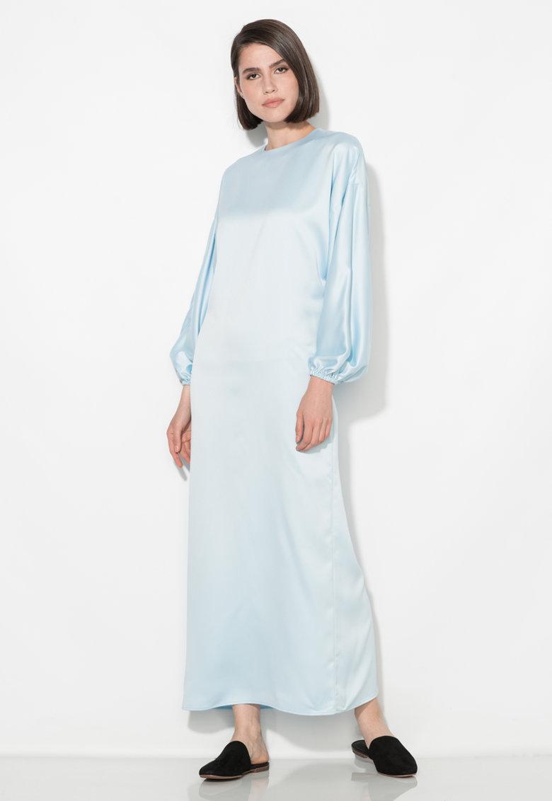 Rochie lunga bleu cu maneci bufante