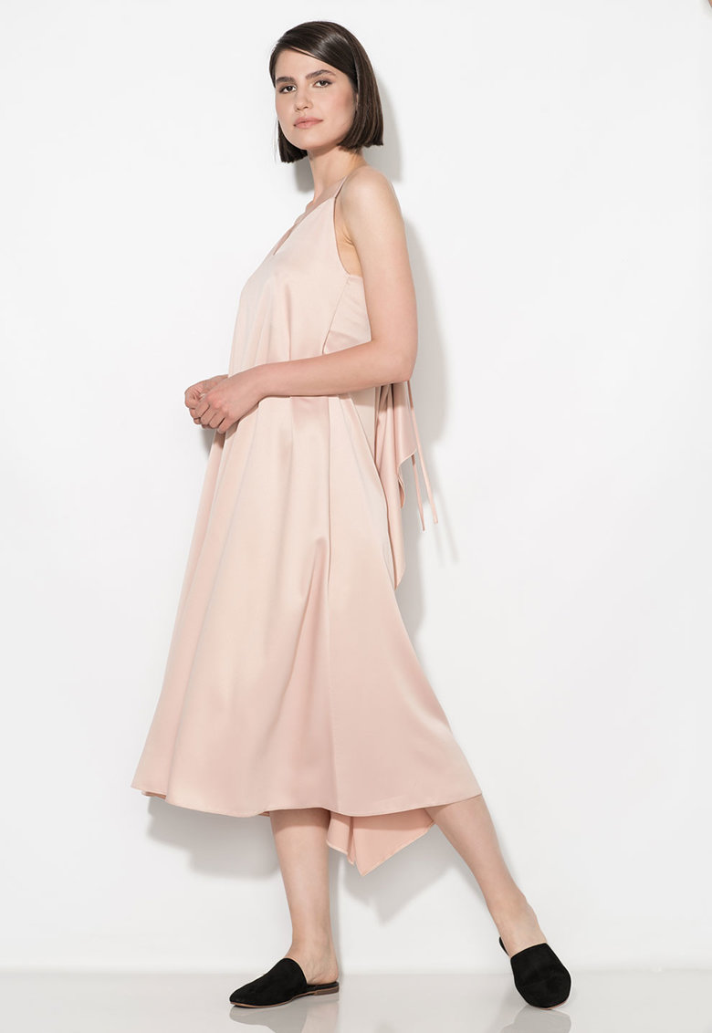 Rochie tip furou roz prafuit de satin