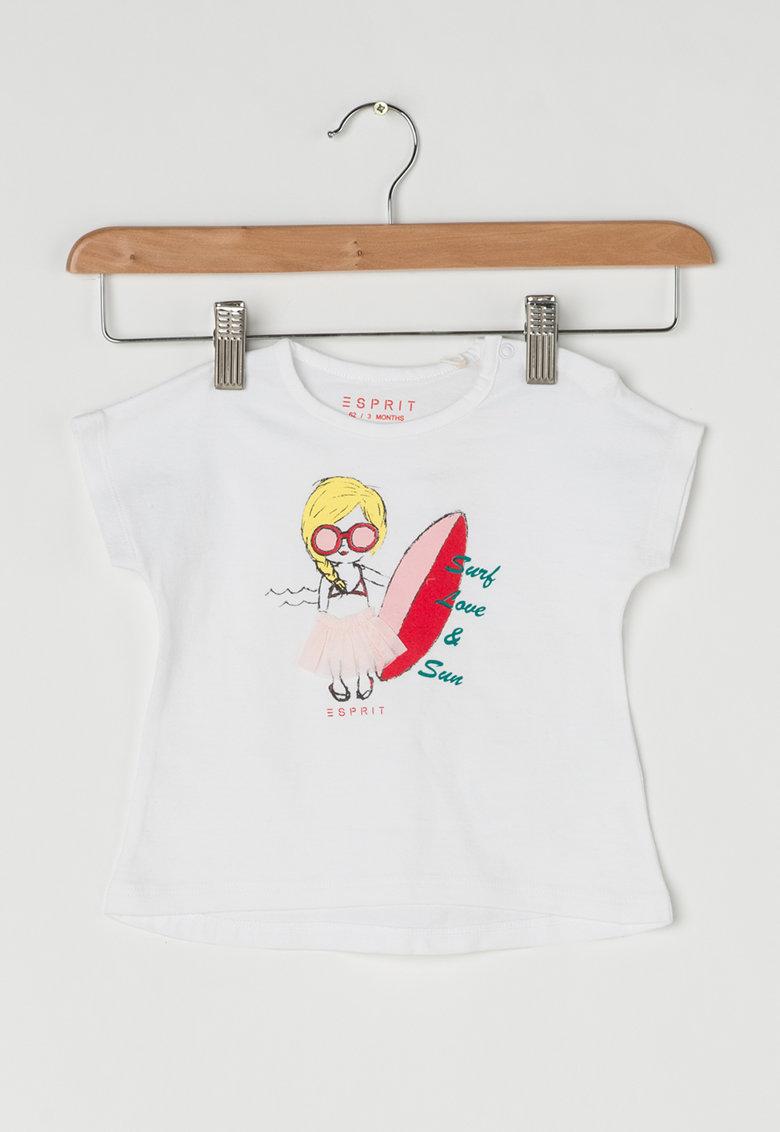 Tricou alb cu imprimeu si aplicatie din plasa de la Esprit