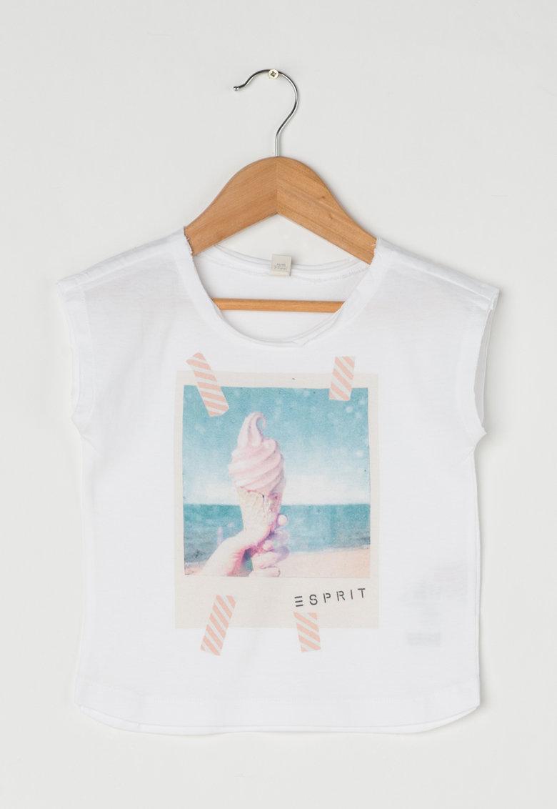 Esprit Tricou alb cu model foto