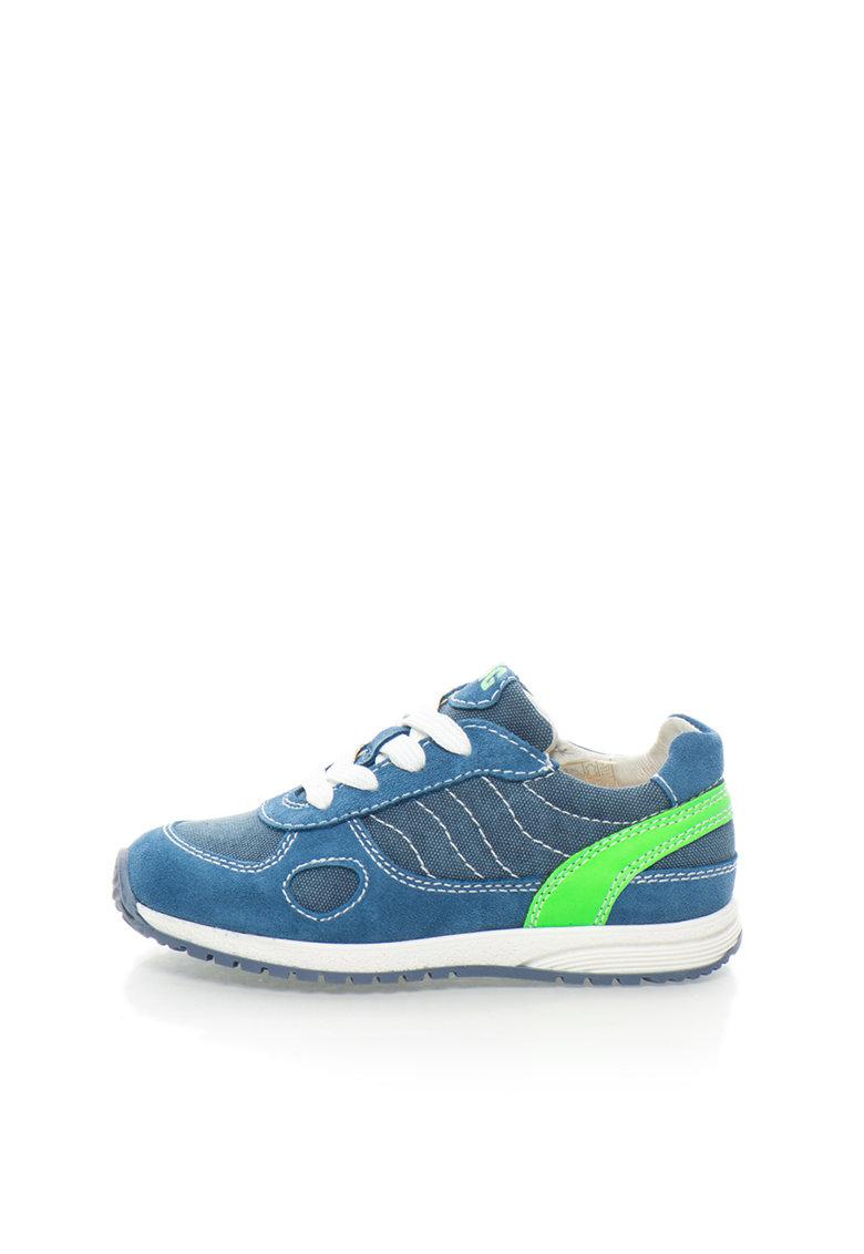 Pantofi sport in nuante de albastru cu verde neon
