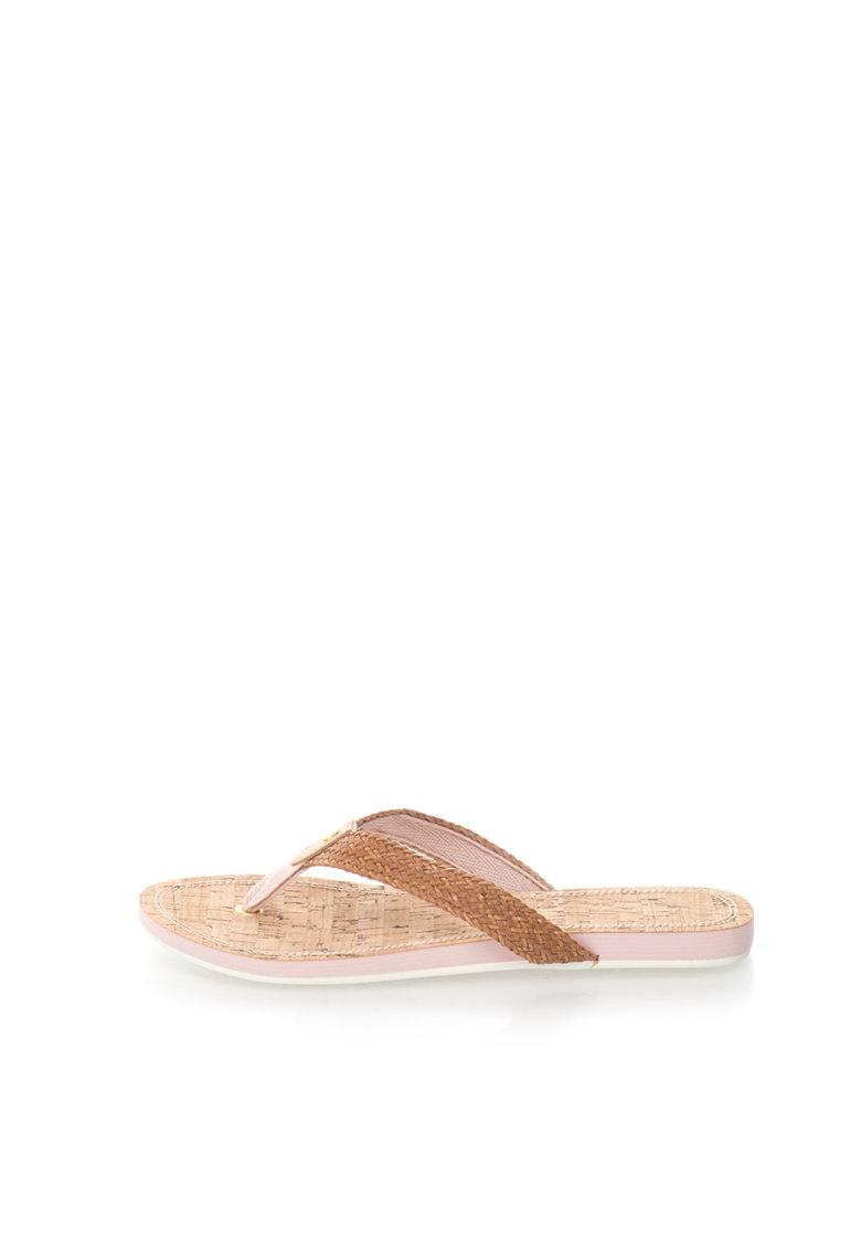 Gant Papuci flip-flop maro cu design impletit
