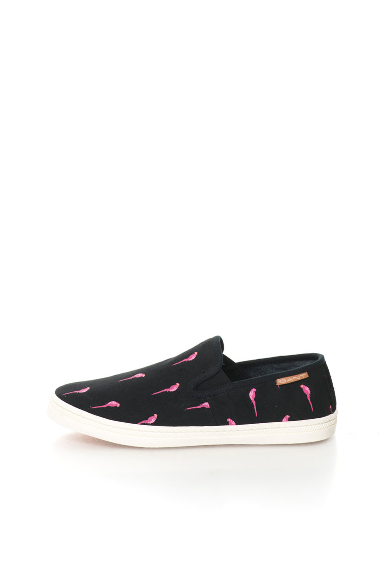 Pantofi slip-on negri cu imprimeu Delray de la Gant
