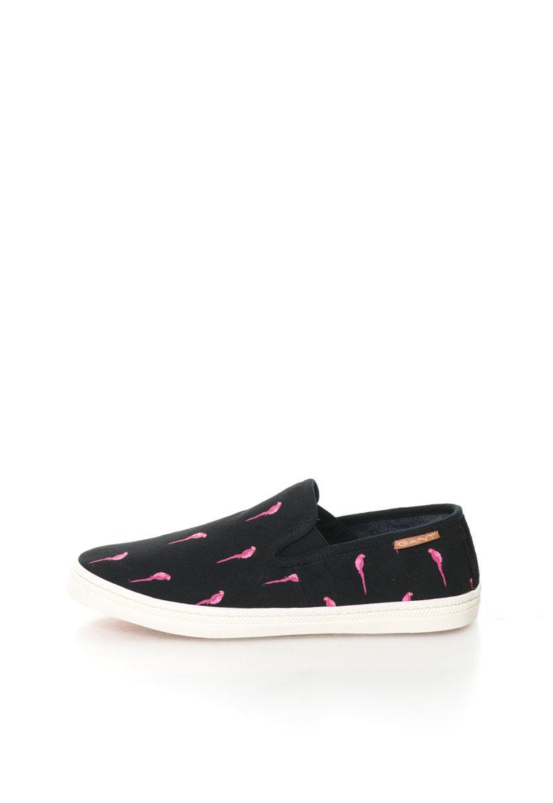 Gant Pantofi slip-on negri cu imprimeu Delray