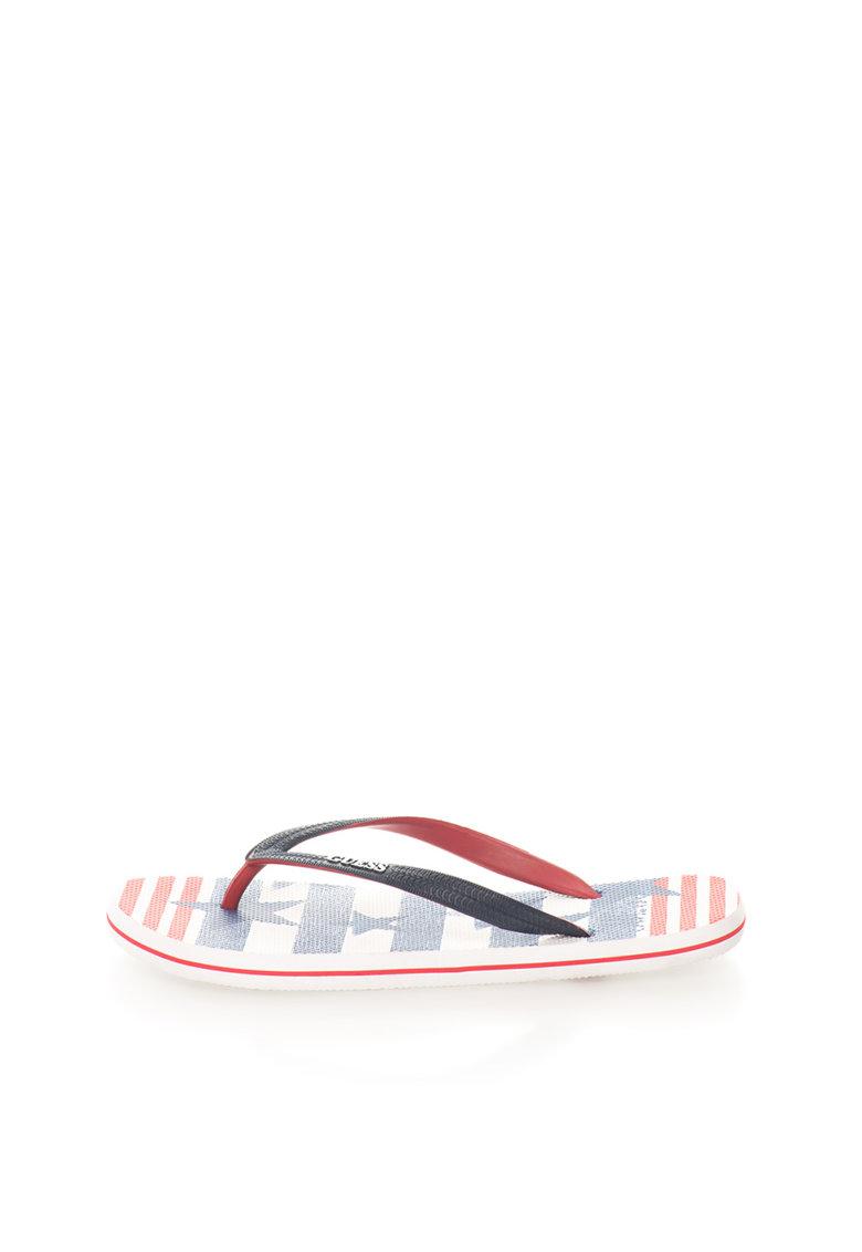 GUESS Papuci flip-flop negru cu rosu si model cu steagul SUA
