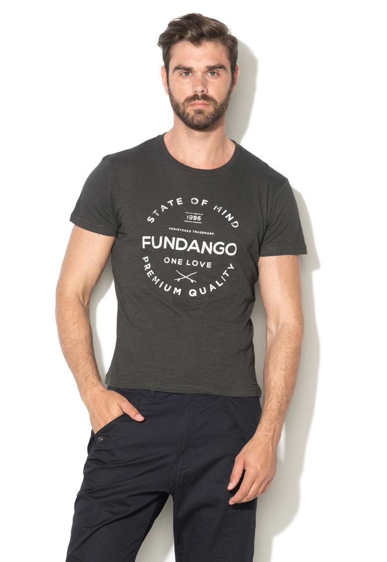 Fundango Tricou gri carbune cu imprimeu logo frontal