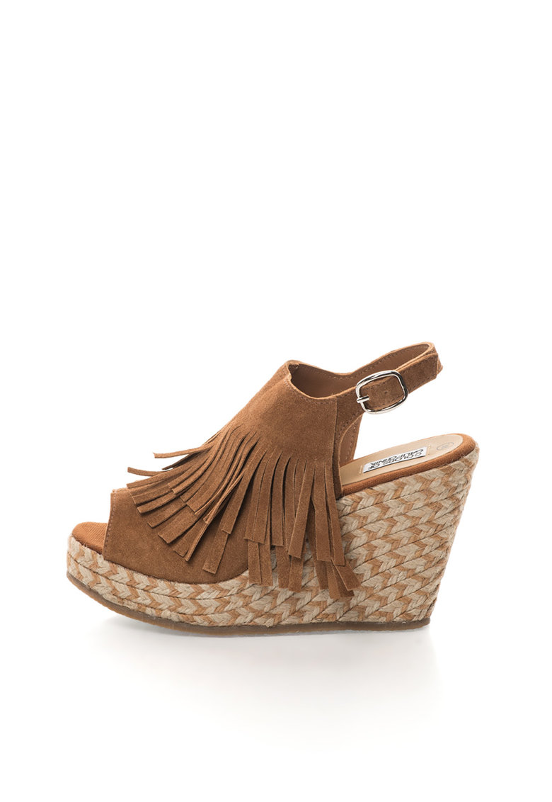 Colors of California Sandale slingback wedge maro de piele intoarsa