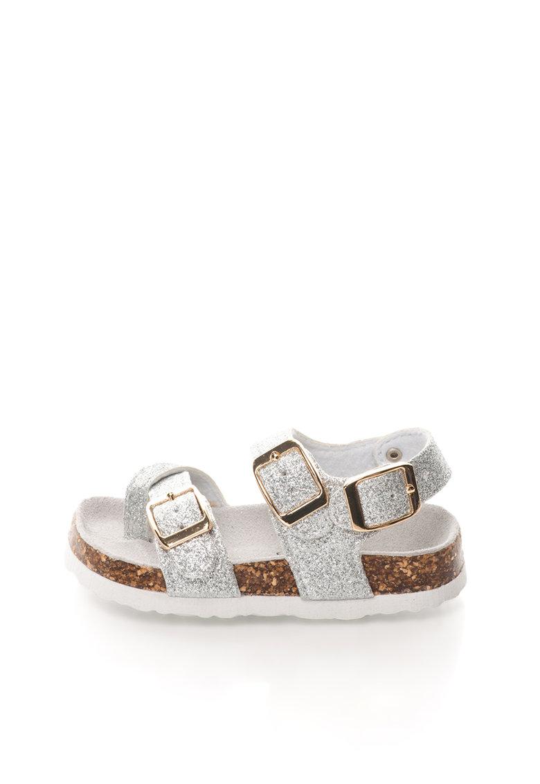 Sandale argintii stralucitoare cu brant anatomic