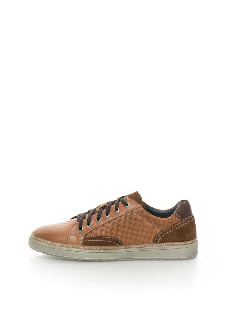 Zee Lane Pantofi sport maro coniac de piele cu piele intoarsa
